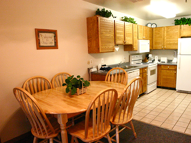 This wasn't our condo, but the kitchen/eating area looked like this.