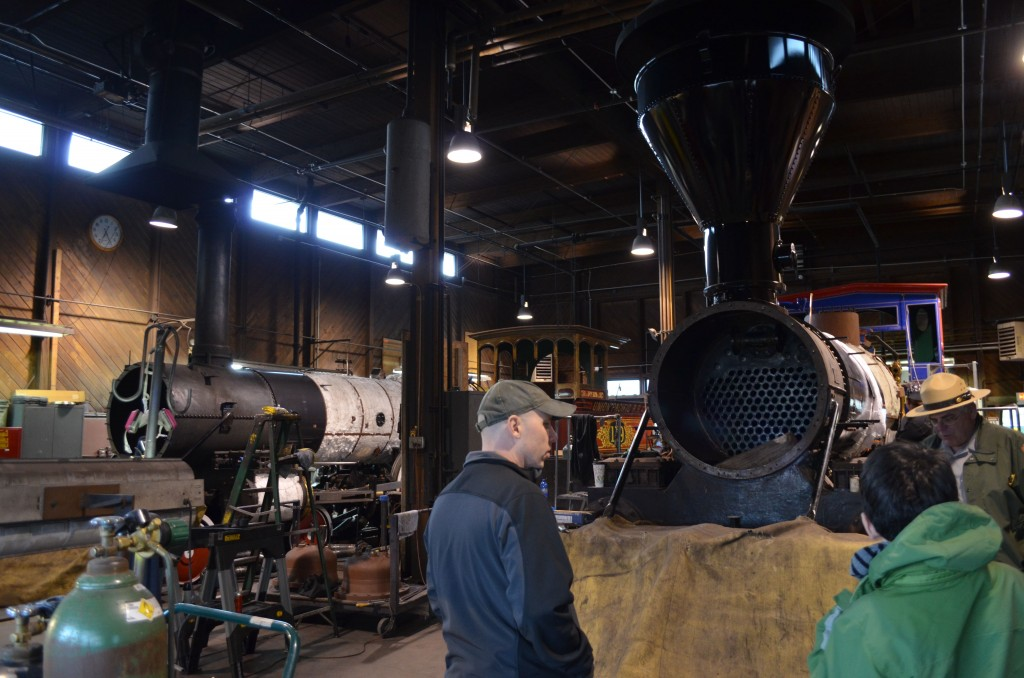 Both of the replica locomotives were disassembled...typically the engines undergo major overhauls in the wintertime.