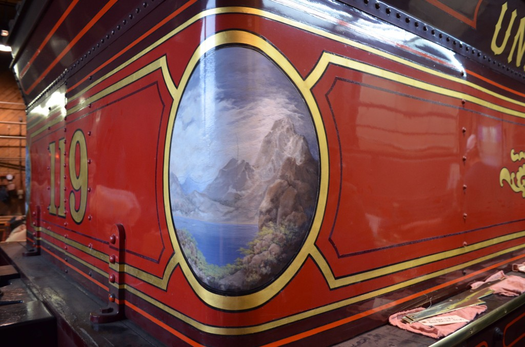 The artwork replicated on the Union Pacific No. 119 is exquisite.