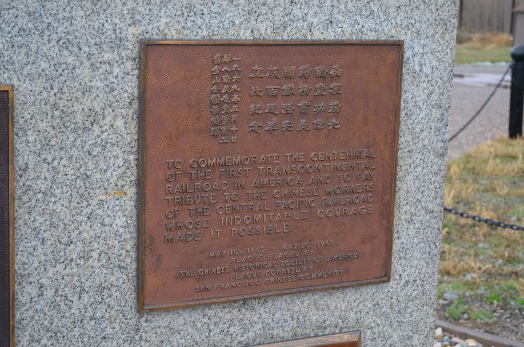 A plaque honoring the thousands of Chinese laborers who worked with the Central Pacific Railroad. This plaque was presented during the centennial celebration in 1969.