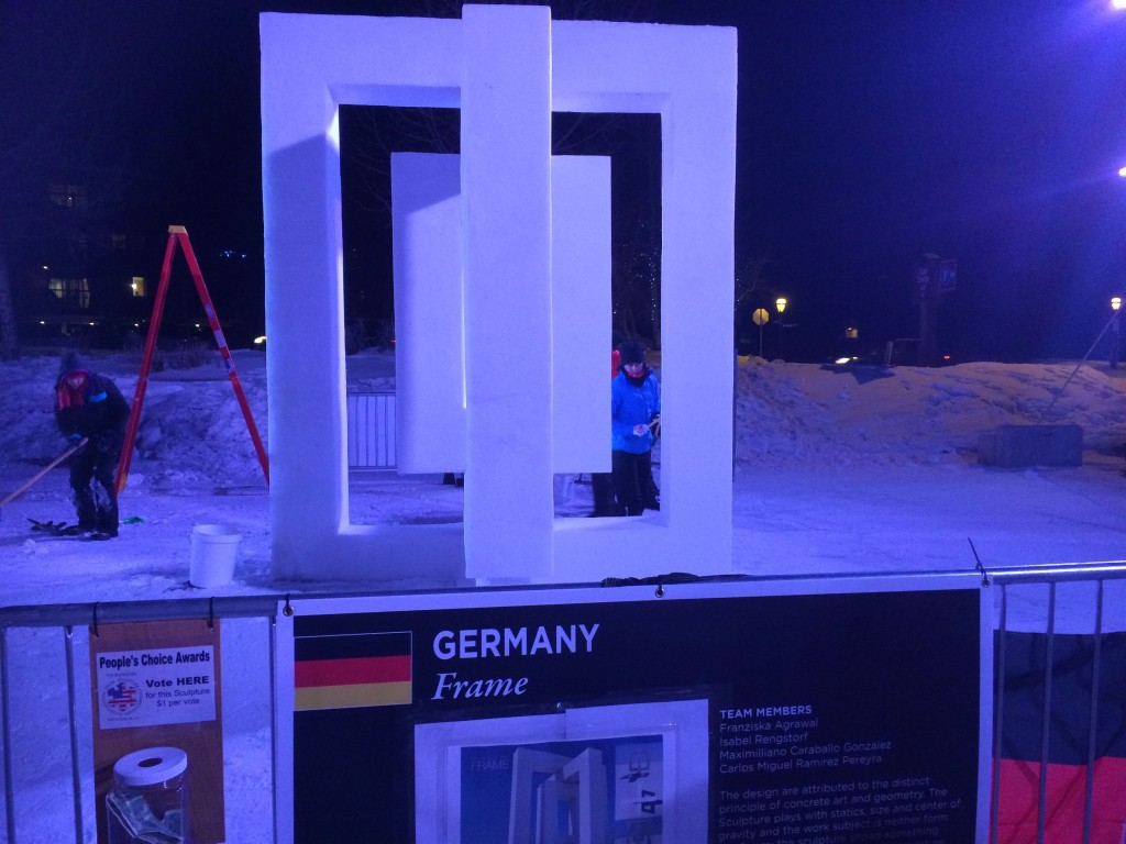 "Germany's ""Frame"" sculpture Friday night."