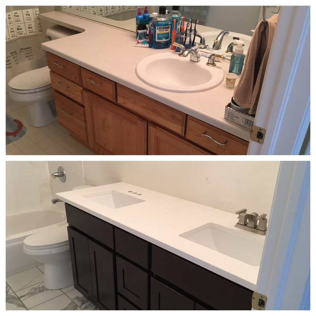 The before-and-after of the counter and cabinets.