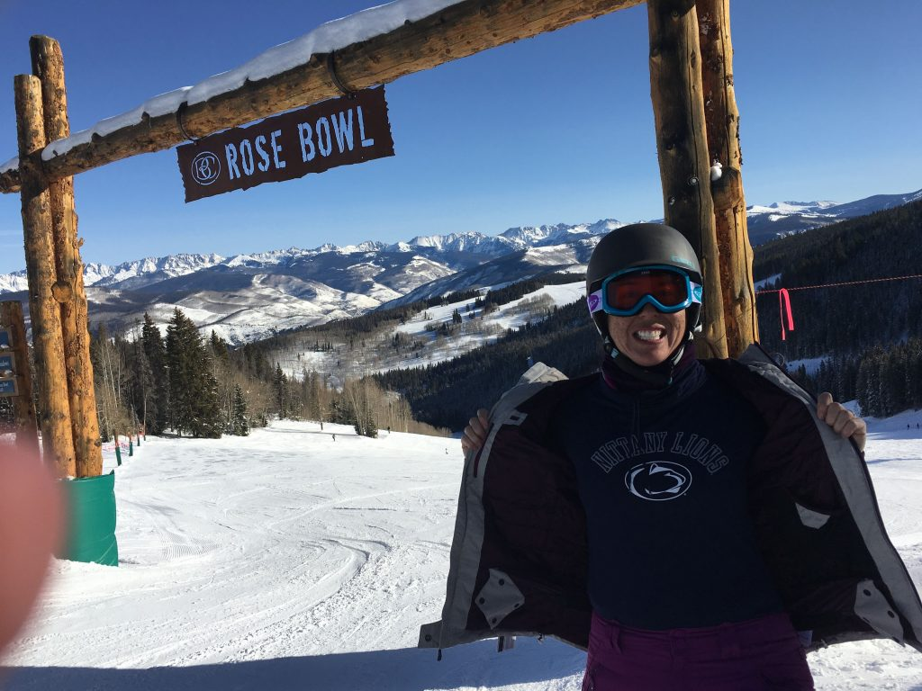 "We fell in love with an area at Beavercreek called the ""Rose Bowl"". The intermediate trails were well-groomed and not too crowded. I liked the name and made sure to have my picture taken with my Penn State shirt!"