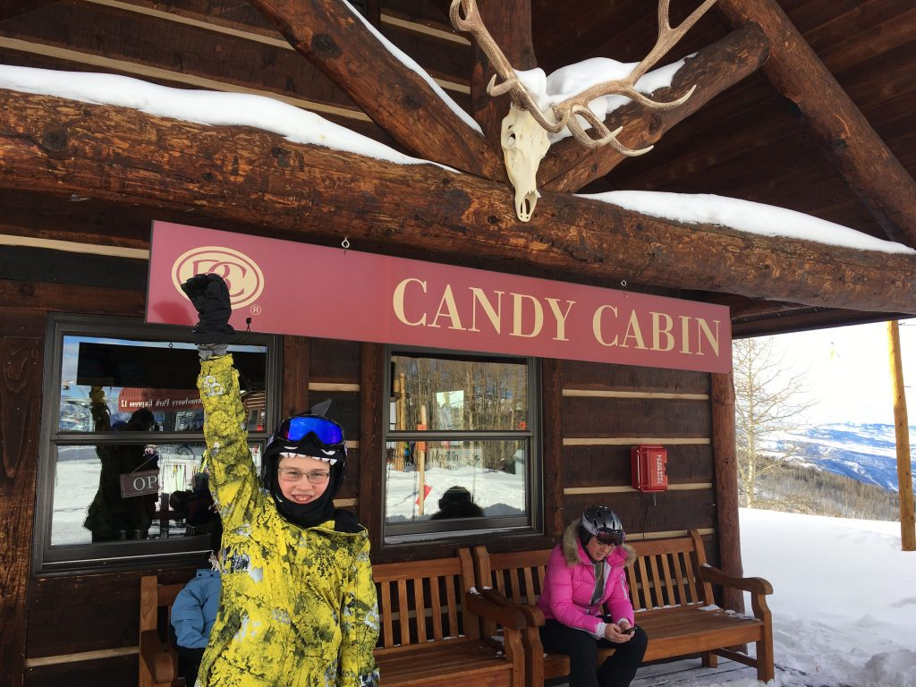 "Partway up the mountain, at the top of the ""Strawberry Park"" lift, is a candy shop. No kidding. I let the kids choose some bulk candy, at the tune of $16 per pound!!!!"